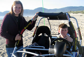 Lena and her newly licensed younger brother taking a photo break at the beach with our new silver mini buggy. Thank you Lena for your wonderful testimonial and beautiful pictures!